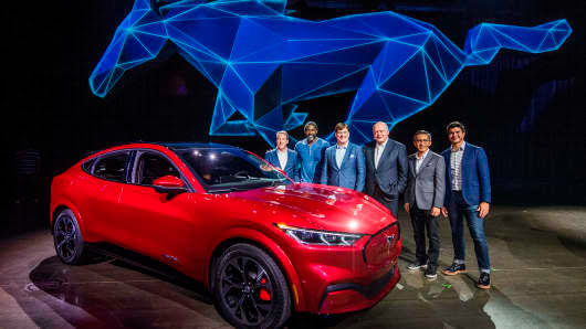 Ford CEO James Hackett (3rd R) and team members reveal the company's first mass-market electric car the Mustang Mach-E, which is an all-electric vehicle that bears the name of the companys iconic muscle car at a ceremony in Hawthorne, California on November 17, 2019.