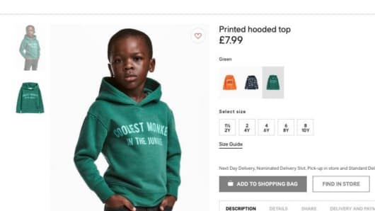 H&M under fire for their Coolest Monkey in the Jungle ad.